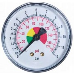 Μανόμετρο Φ63 αερόμετρου 0 - 12 bar / 0 - 170 psi
